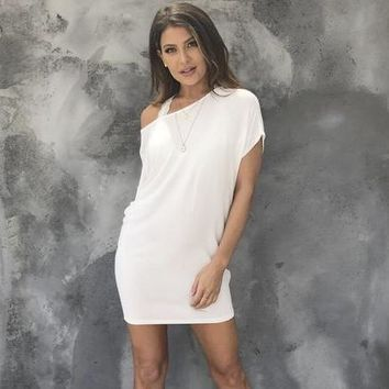 Simply Crossed Jersey Tunic Dress in White