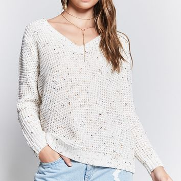 Ribbed Trim V-Neck Sweater