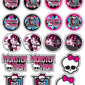 18 Monster High Party Collection Edible Rice Wafer Paper Cupcake Topper