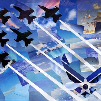 Airplane decor-Mixed Media collage painting-United States Air Force-USAF-Airplane art-Fighter jet-Mancave art-military homecoming-manly gift