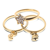 Kardashian Kollection Gold Stackable Ring Trio w Charms