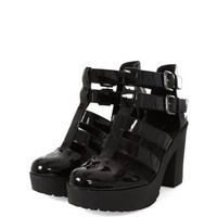 Black Chunky Patent Gladiator Shoe Boots