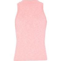 River Island Girls pink ribbed turtle neck top