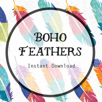 Boho Feathers Digital Clipart, Bohemian Clipart, Boho Clipart, Feather Printable, Feather Clipart, Feather Clip Art.