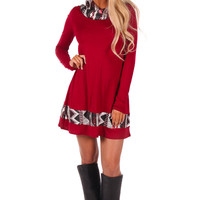 Burgundy Tunic Dress with Sequin Hoodie and Trim