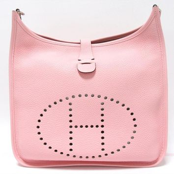 Auth HERMES Evelyn III 3 Shoulder Bag Clemence Leather Rose Sakura