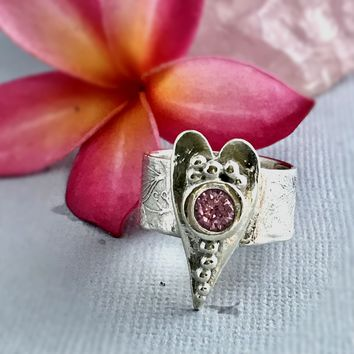Sterling Silver Heart Ring with Pink CZ Gemstone, Heart Ring, Love Ring, Engagement Ring SIZE 8