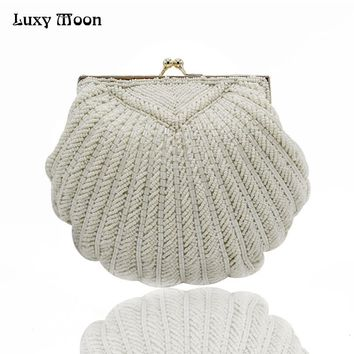 Luxy Moon Women Faux Pearl Bead Rhinestone Evening Clutch Fashion Purse with Chain Handmade Party Clutch Pearl Evening Bag ZD712