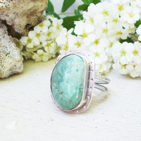 Natural light blue Cripple Creek turquoise sterling silver statement ring, freeform stone cabochon, silversmith artisan jewelry, size 8