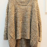 Irregular Hem Bat-wing Sleeve Colored Sweater