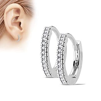 Pair of Micro CZ Paved 316L Surgical Steel WildKlass Post Hoop Earrings