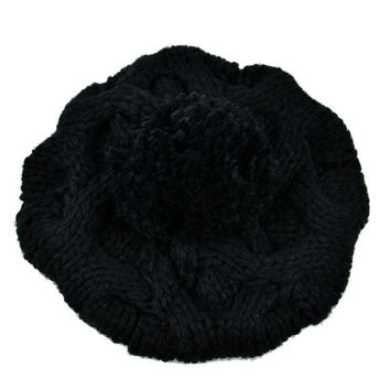 New Fashion Women's Winter Warm Knit Wool Hat Beanie Crochet Warm Pumpkin Ball Cap