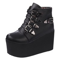 Gothic Womens Hidden Wedge Heel Platform CreeperS Open Toe Punk Sandals Shoes
