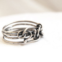 Sterling silver ring, wire wrapped, oxidized