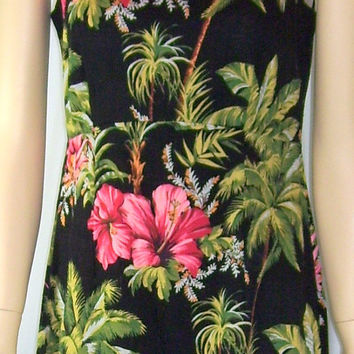 Vintage The Hawaiian Original Dress XS B34 Black Pink Floral Hibiscus Barkcloth Fabric Sleeveless