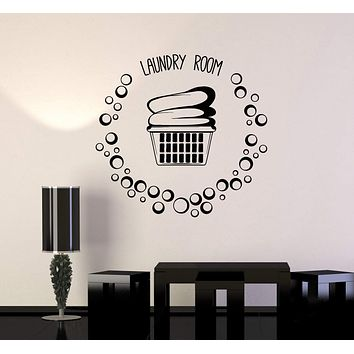 Vinyl Wall Decal Laundry Room Basket Clothes Bubbles Stickers Mural Unique Gift (ig5148)