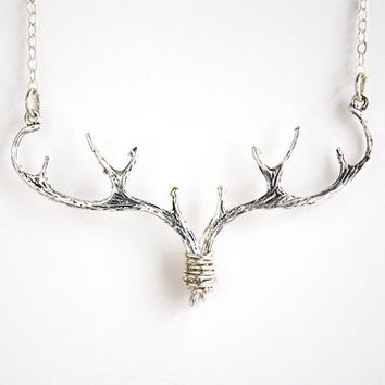 Silver Antler Necklace. Elk Deer Necklace