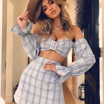 2019 tide brand female plaid dress horn sleeve tube top two-piece suit