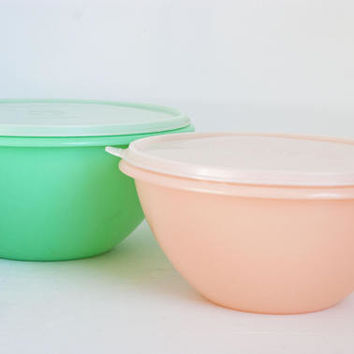 Vintage Tupperware Pastel Wonderlier Mixing Bowls with Lids, Jade Green and Peach Storage Bowl Set