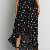 AEO Ruffle Maxi Skirt, Black
