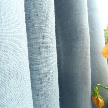 PAIR of  Gray Linen Curtain Panel. Curtain Panels. Linen Rod Pocket Curtains