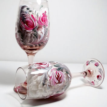 Glass Rose Glassware, Rosemaling Folkart Style,Wine Juice Glasses, Hand Painted Set of Two