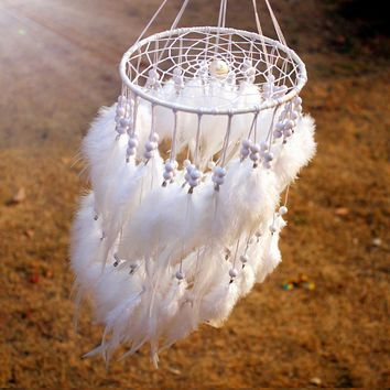 12 color New  hanging Feather pearl Dream catcher /Wind Chimes Indian Style Dream Catcher Gift