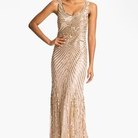 Women's Aidan Mattox Sequin V-Back Mesh Gown (Online Only)