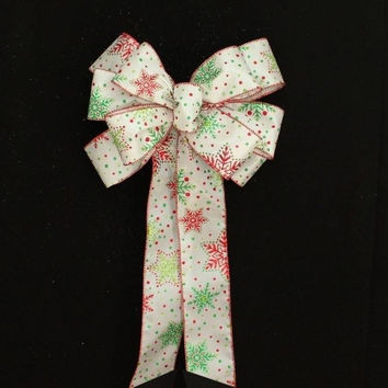 Contemporary Glittered Snowflake Christmas Bow