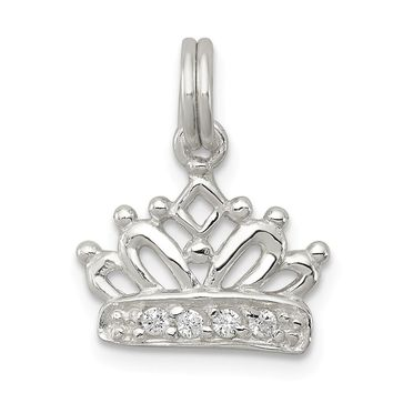 925 Sterling Silver Cubic Zirconia Polished Crown Charm and Pendant