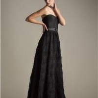 Adrianna Papell STRAPLESS TULLE BODICE GOWN
