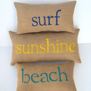 burlap beach pillows, surf, sunshine, beach pillows, beach lover, surfer, beach decor, yellow, navy blue, aqua blue pillows, custom made