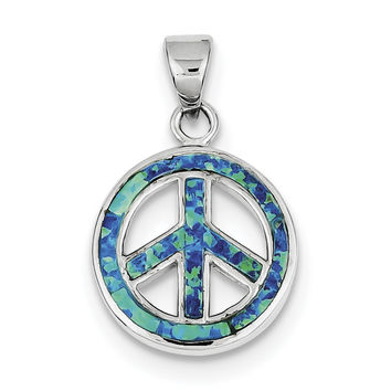 Sterling Silver Blue Inlay Created Opal  Peace Sign Pendant QP2745