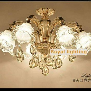 modern murano glass ceiling chandelier led Lampadari plating Aluminum K9 crystal chandelier for dining room coffee shop lighting