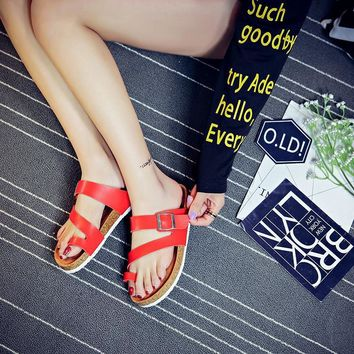 Women's summer cork slippers Anti-skid fashion Flat beach shoes