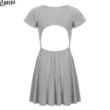 Women Gray Scoop Neck Sexy Cut out Open Back Casual Skater Mini Dress Fashion Summer Short Sleeve A Line Cotton Clothing