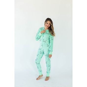 Sleepy Kitty Minky Fleece Women's Onesuit