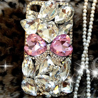 luxury Bling Diamond Gem Flower Crystal Hard Case Cover for Various Phones