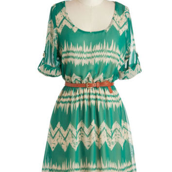 ModCloth Folk Art Mid-length Short Sleeves A-line Mountain Dwelling Dress