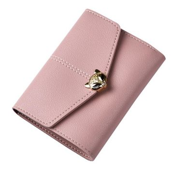 Women Wallet Female Purse Leather Card Holder Wallet Small Purse Coin Envelope Wallet Trifold Buckle Women Clutch Casual Trend