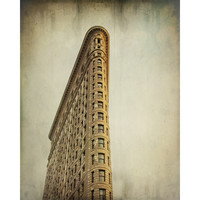 Flatiron Building photo, urban decor, NYC New York City landmark, Manhattan architecture skyscraper, brown golden