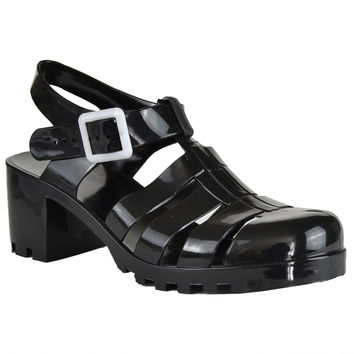 Womens Platform Sandals Jelly Strappy Low Heel Casual Shoes black