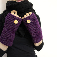 Purple Wrist Warmers, Chunky Texting Mitts, Fingerless Mittens, Violet Hand Warmers, Wool Texting Gloves, Tweed Wool Open Mitt,Open Gloves