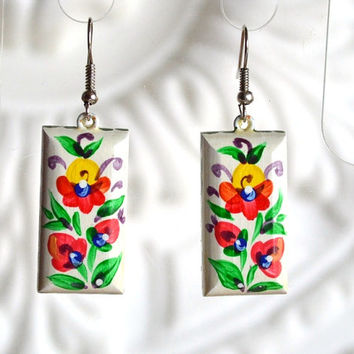 earrings of wood with hand painted. handmade wooden earrings folklore jewelry Gift idea for her