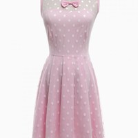 Pink Dot Print Pleated Dress with Mesh Layer - Choies.com