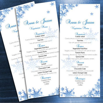 DIY Printable Wedding Menu Template | Editable MS Word file | 4 x 9.25 | Instant Download | Winter Blue Snowflakes