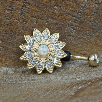 Gold Opal Flower Belly Button Ring