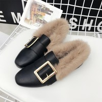 Women Soft Rabbit Fur Shoes Flat Warm Furry Loafers Ladies Slipony Flats Square Buckle Slip On Loafer Shoes With Real Fur