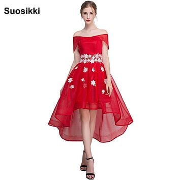Suosikki New Formal evening dress high low flower boat neck evening prom party gown vestido de festa