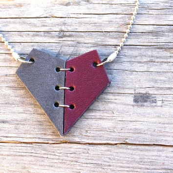 Mended heart necklace leather pendant in burgundy and gray.